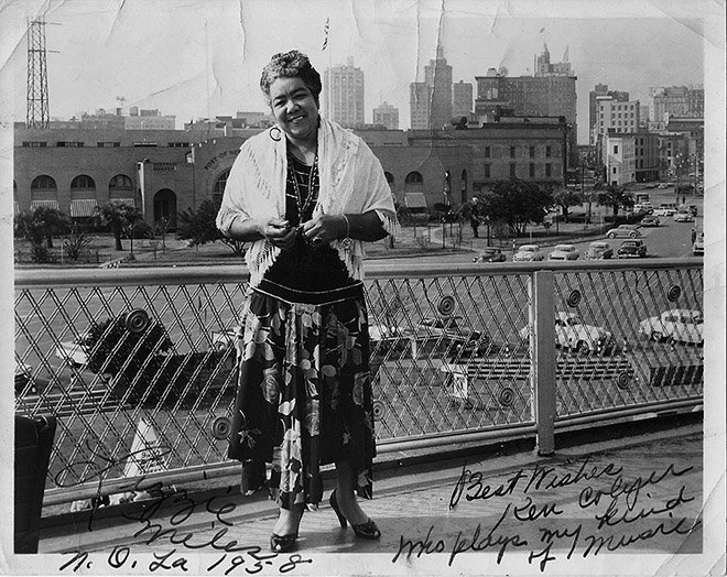 "Lizzie Miles, New Orleans 1958.  ""Best wishtes to Ken Colyer who plays my kind of music"""