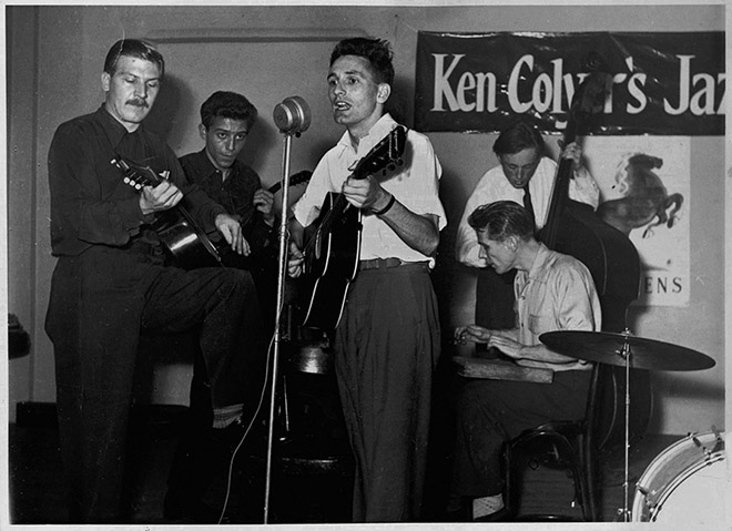 In London. Left to right: Ken Colyer; Alex Korner; Lonnie Donegan; Bill Colyer (on washboard); and Chris Barber on bass.