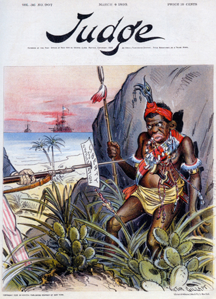 """He wouldn't take it any other way,"" cover illustration from Judge magazine, March 4, 1899. From The Forbidden Book: The Philippine-American War in Political Cartoons, 2004."