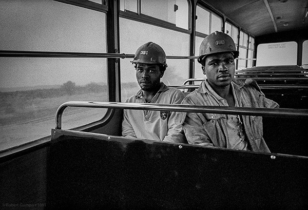 1991: Miners on their way to work.  South Africa