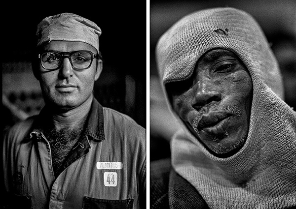 L: Worker in a Windsor, Canada auto casting plant. 1983.  R: Striking South African miner. 1991