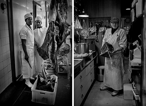 L: Butchers. Jo'burg, South Africa 1991  R: Butcher. Paris, France 2016