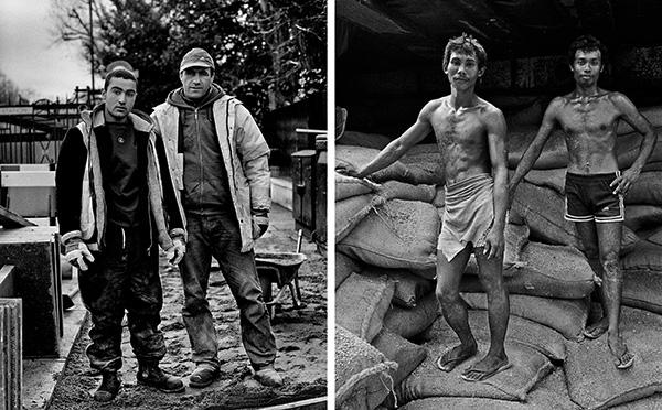 L: Cement workers rehabbing sidewalk.  London, England 2005.  R: Dockworkers. Manila, Philippines. 1987
