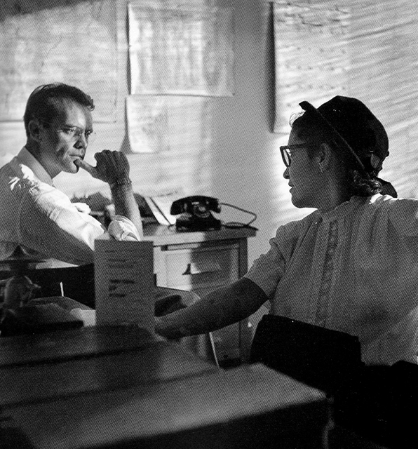 Maria Duran, CSO & International Ladies Garment Workers Union leader, with Fred Ross during fight to save Chavez Ravine in 1949. Photo: Don Normark
