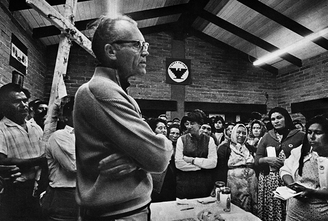 Fred Ross speaking at a nightly mass in Delano, California, during Cesar Chavez's fast in March 1968. Photo Credit: Courtesy of Walter P. Reuther Library, Wayne State University