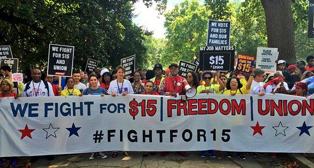 """Fight for $15"" convention closed with a march on the Robert E. Lee monument that symbolizes racial supremacy.  Photo: Rand Wilson"